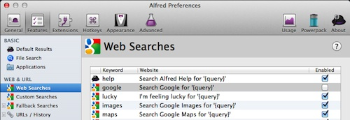 Turning off Google search in Alfred preferences