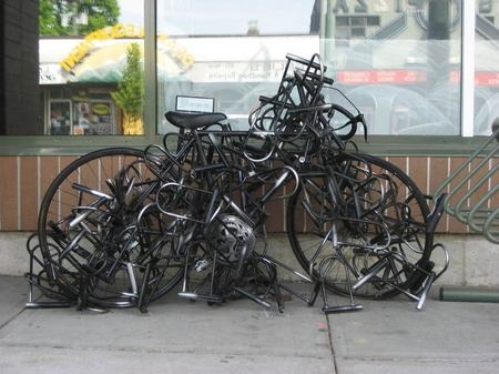 image: bike covered in bike locks